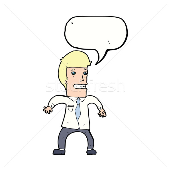 Cartoon нервный бизнесмен речи пузырь стороны дизайна Сток-фото © lineartestpilot