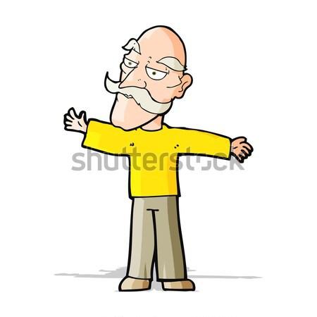 комического Cartoon старик оружия широкий ретро Сток-фото © lineartestpilot
