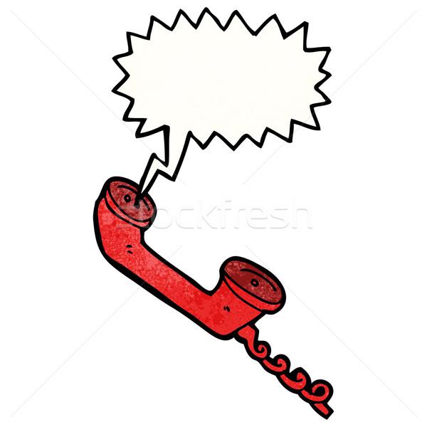 Rajz telefonkagyló szövegbuborék telefon művészet retro Stock fotó © lineartestpilot