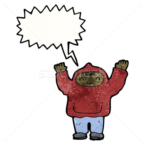 shouting teen in hooded sweatshirt Stock photo © lineartestpilot