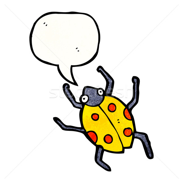 Rajz katicabogár szövegbuborék retro rajz rovar Stock fotó © lineartestpilot