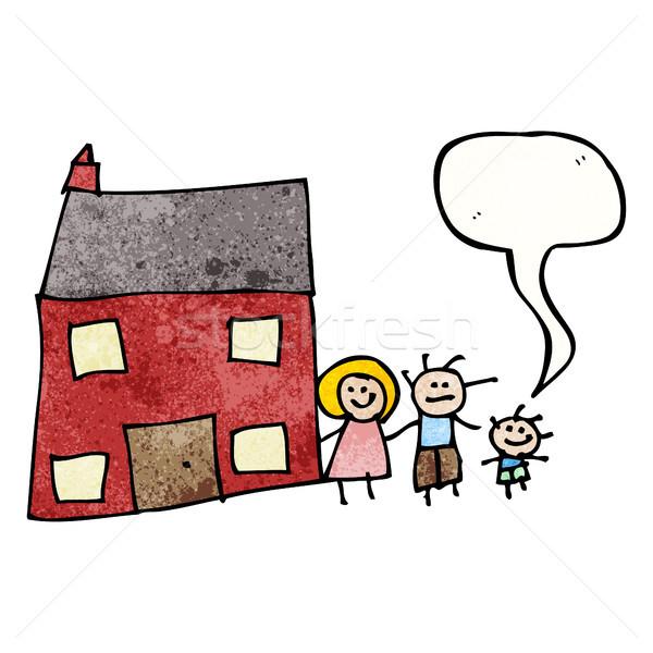 Zeichnung Familie zu Hause Retro Karikatur Textur isoliert Stock foto © lineartestpilot