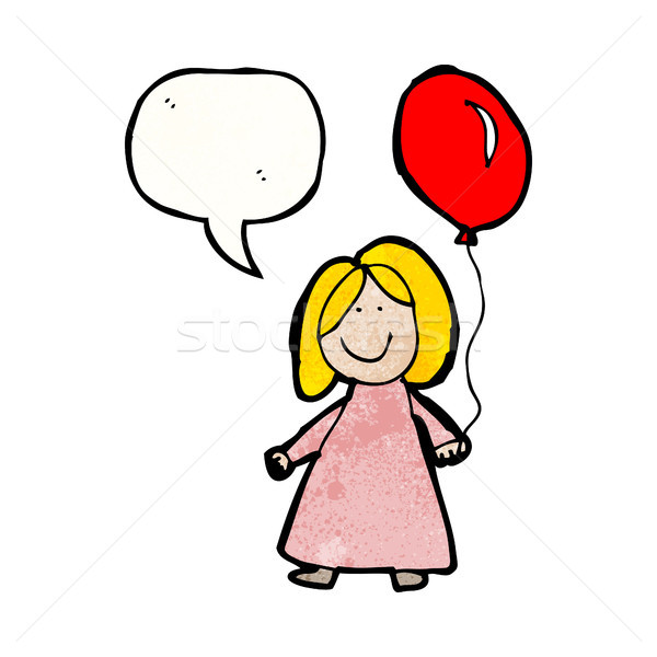 Stock photo: child's drawing of a girl with balloon