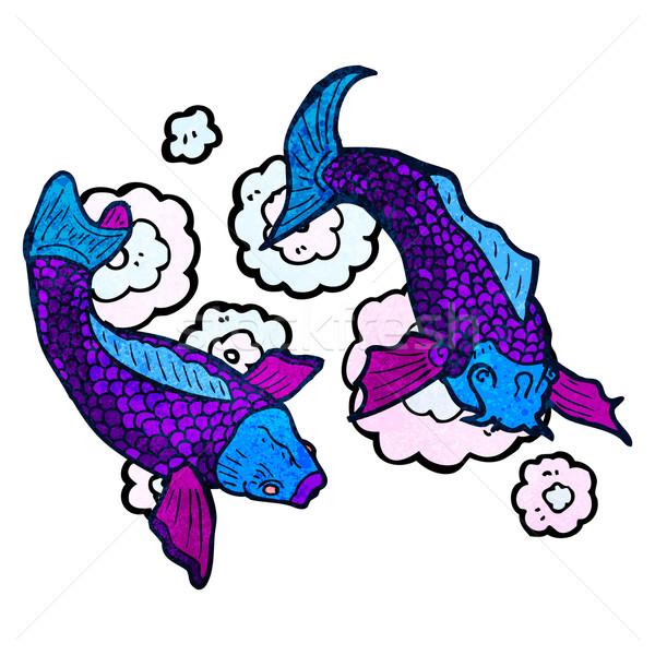 ニシキゴイ 鯉 入れ墨 実例 レトロな 漫画 ストックフォト © lineartestpilot