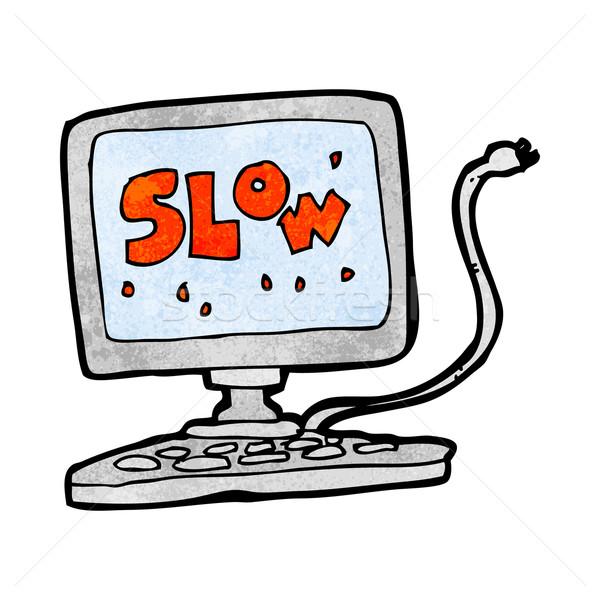 Cartoon замедлять компьютер стороны дизайна Crazy Сток-фото © lineartestpilot