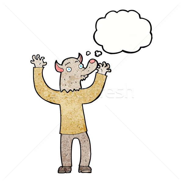 cartoon happy werewolf man with thought bubble Stock photo © lineartestpilot