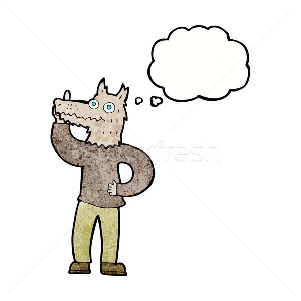 Karikatür kurt adam fikir düşünce balonu el dizayn Stok fotoğraf © lineartestpilot