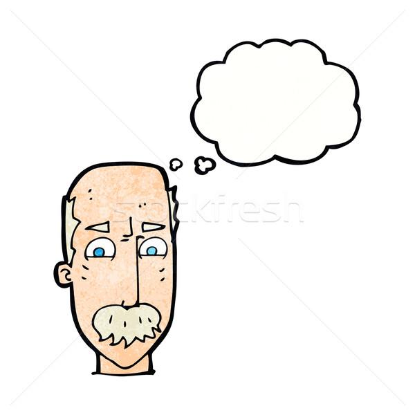Cartoon vecchio bolla di pensiero mano uomo design Foto d'archivio © lineartestpilot