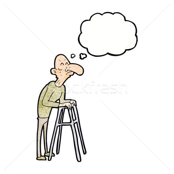Karikatür yaşlı adam yürüyüş çerçeve düşünce balonu el Stok fotoğraf © lineartestpilot