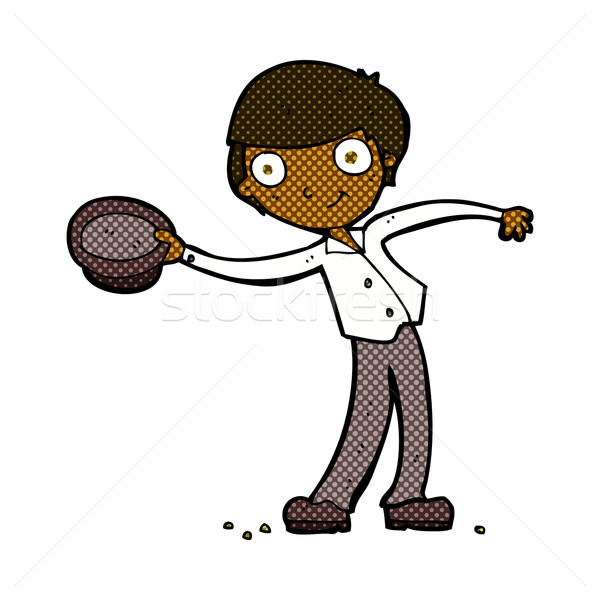 comic cartoon man tipping hat Stock photo © lineartestpilot