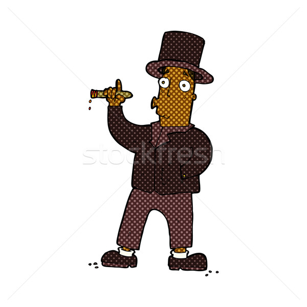 Komik karikatür sigara içme beyefendi Retro Stok fotoğraf © lineartestpilot