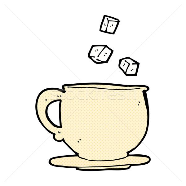 Stock photo: comic cartoon teacup with sugar cubes