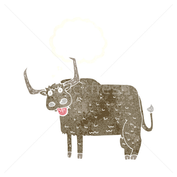 cartoon hairy cow with thought bubble Stock photo © lineartestpilot