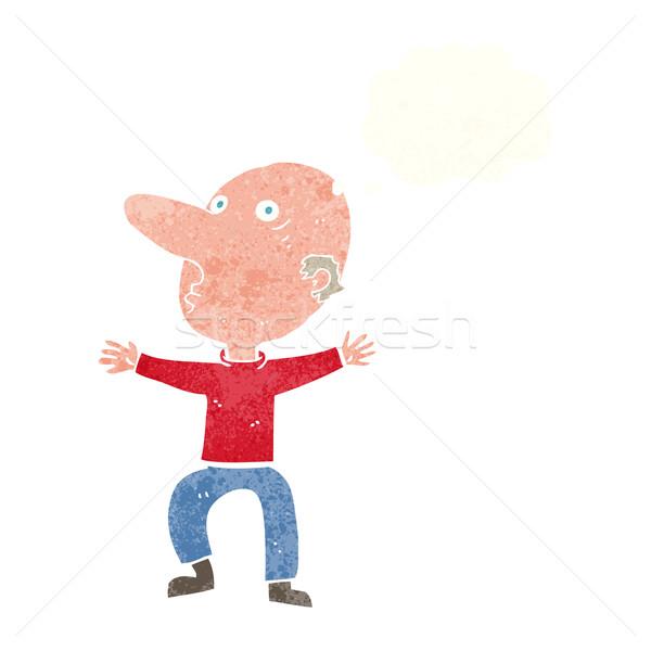 Rajz aggódó középkorú férfi gondolatbuborék kéz férfi Stock fotó © lineartestpilot