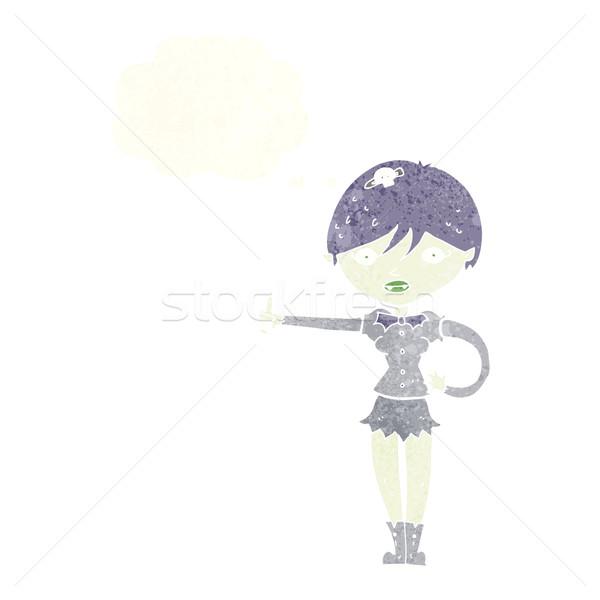 Desenho animado vampiro menina símbolo balão de pensamento Foto stock © lineartestpilot