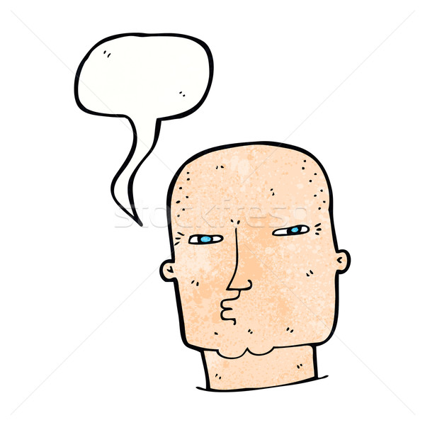 cartoon bald tough guy with speech bubble Stock photo © lineartestpilot
