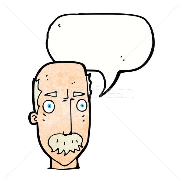 Cartoon agacé vieillard bulle main visage Photo stock © lineartestpilot