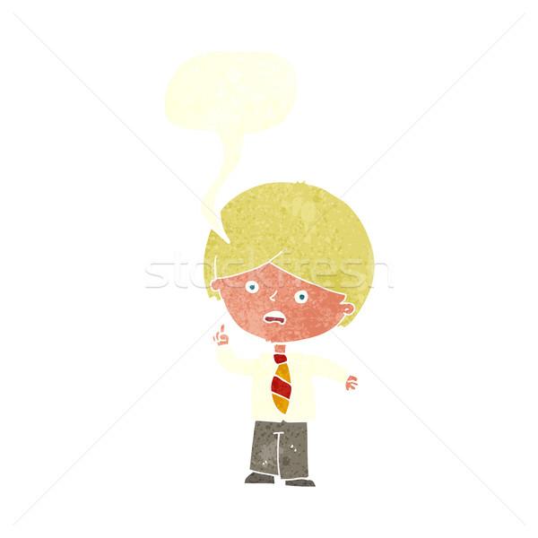 Cartoon школьник стороны речи пузырь дизайна Сток-фото © lineartestpilot