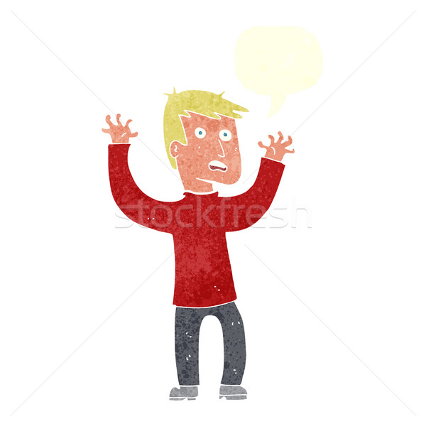 cartoon terrified man with speech bubble Stock photo © lineartestpilot