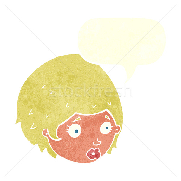 cartoon girl with concerned expression with speech bubble Stock photo © lineartestpilot