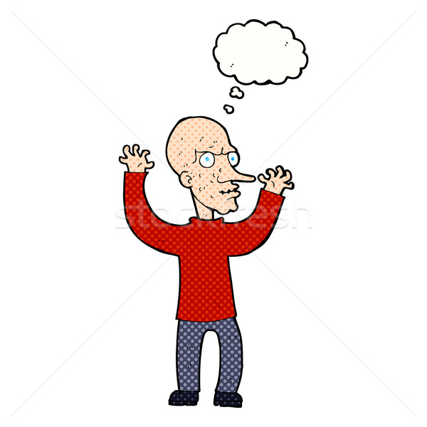 cartoon mean man with thought bubble Stock photo © lineartestpilot