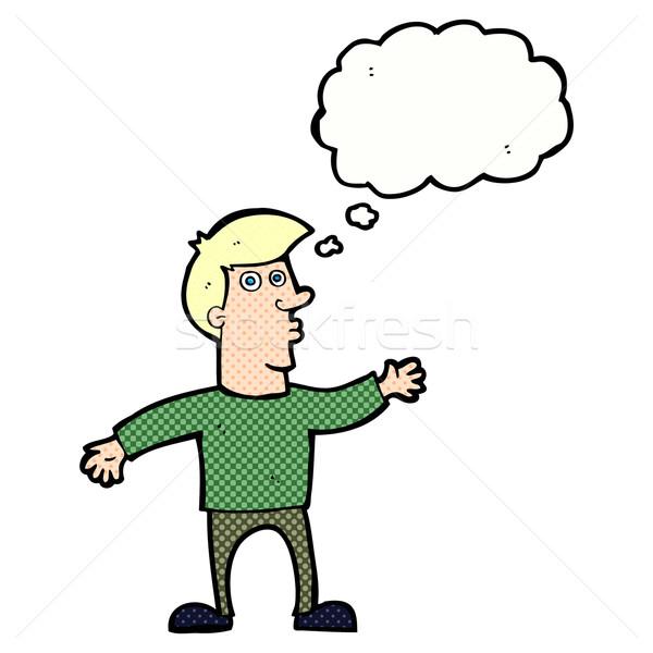 Cartoon preocupado hombre burbuja de pensamiento mano diseno Foto stock © lineartestpilot