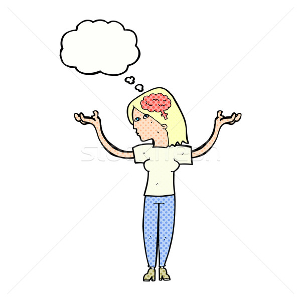 cartoon intelligent woman with thought bubble Stock photo © lineartestpilot