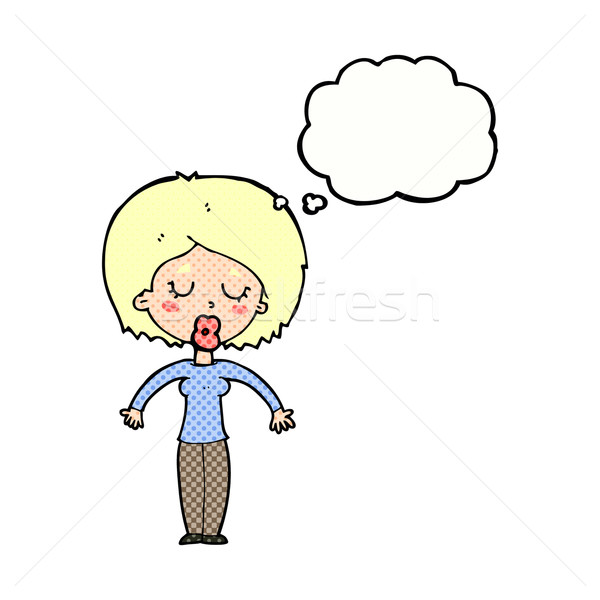 cartoon woman with closed eyes with thought bubble Stock photo © lineartestpilot