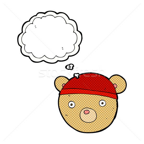 Cartoon Nounours chapeau bulle de pensée main design Photo stock © lineartestpilot