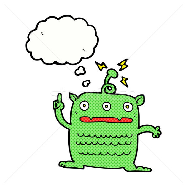 cartoon weird little alien with thought bubble Stock photo © lineartestpilot