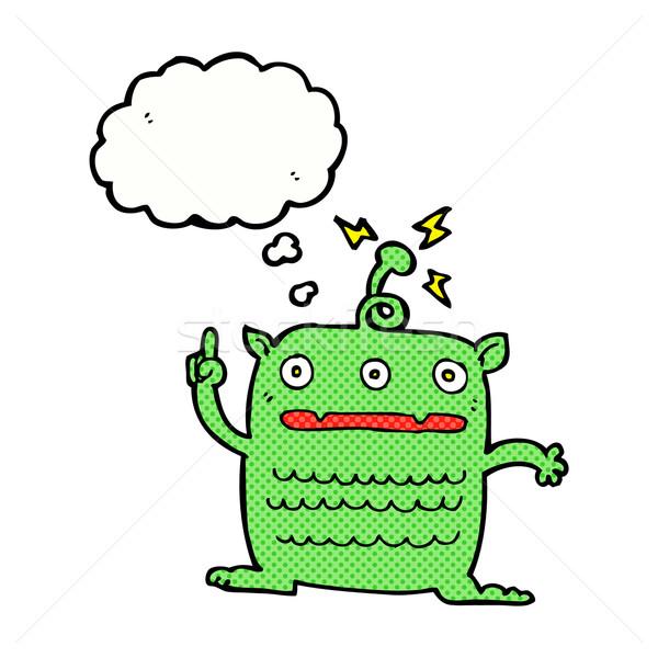 Cartoon weird weinig vreemdeling gedachte bel hand Stockfoto © lineartestpilot