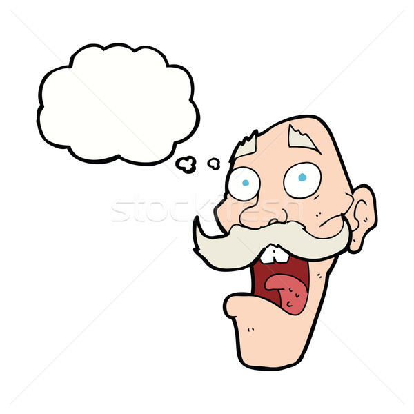 cartoon frightened old man with thought bubble Stock photo © lineartestpilot