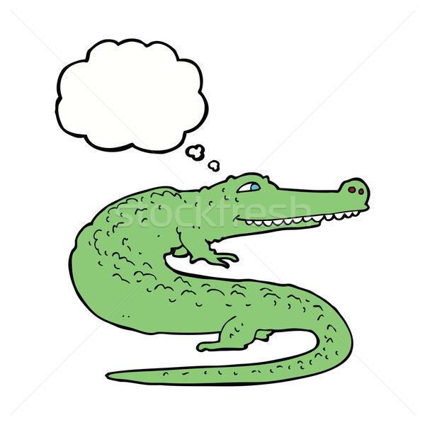 Cartoon crocodile bulle de pensée main design animaux Photo stock © lineartestpilot