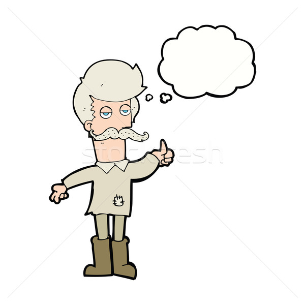 Desenho animado velho pobre roupa balão de pensamento mão Foto stock © lineartestpilot