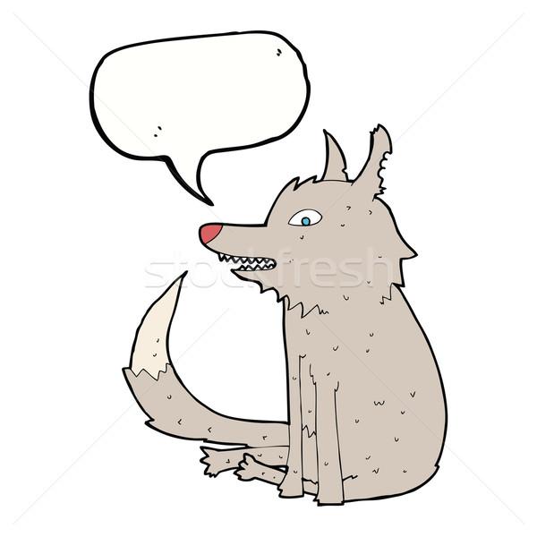 Karikatür kurt oturma konuşma balonu el dizayn Stok fotoğraf © lineartestpilot