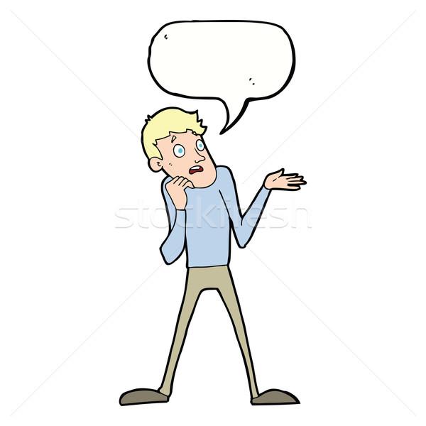 Desenho animado nervoso homem balão de fala mão projeto Foto stock © lineartestpilot