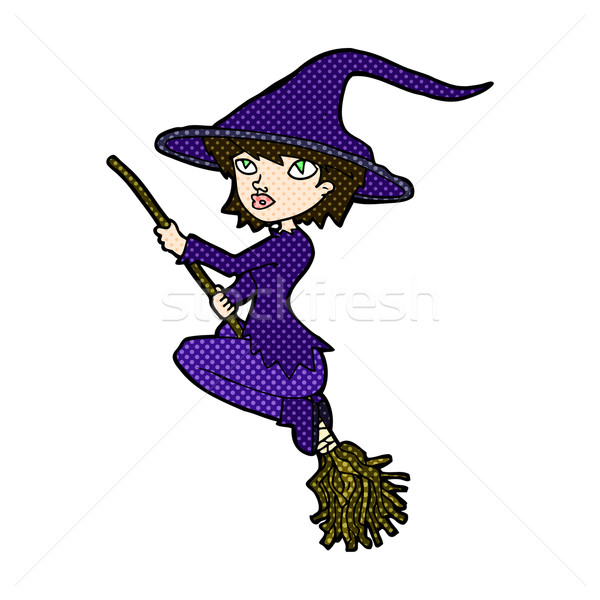 comic cartoon witch riding broomstick Stock photo © lineartestpilot