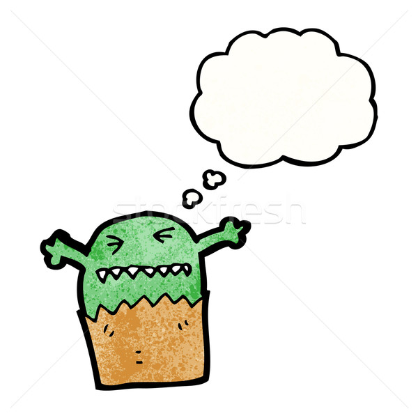 Stock photo: cartoon little alien with thougth bubble