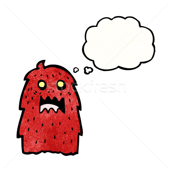 Haarig rot Monster Karikatur sprechen Retro Stock foto © lineartestpilot