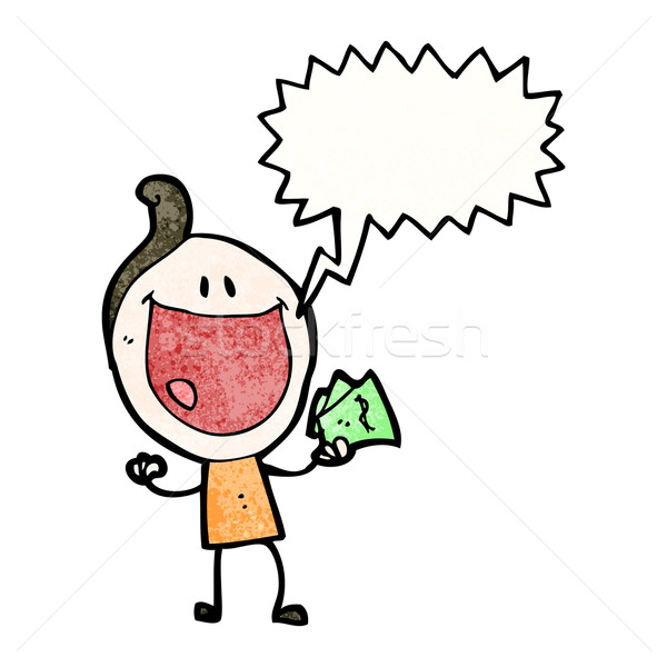 cartoon happy man with handful of cash Stock photo © lineartestpilot