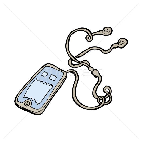 Karikatür müzik Çalar el dizayn çılgın kırpmak Stok fotoğraf © lineartestpilot