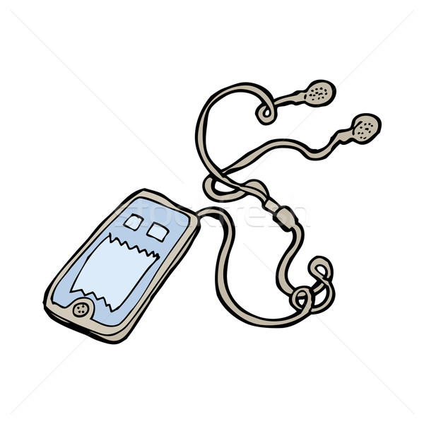 Cartoon muziekspeler hand ontwerp gek clip Stockfoto © lineartestpilot