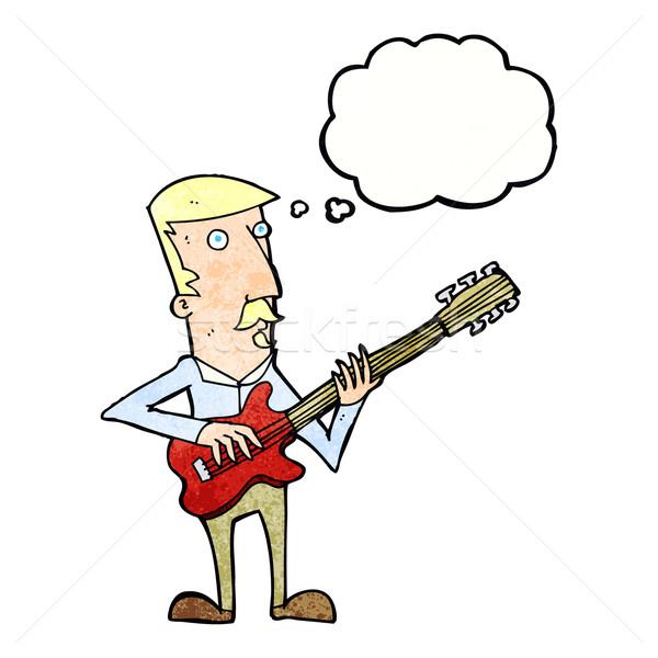 Cartoon человека играет электрической гитаре мысли пузырь стороны Сток-фото © lineartestpilot