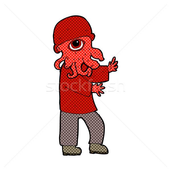 Képregény rajz idegen férfi retro képregény Stock fotó © lineartestpilot