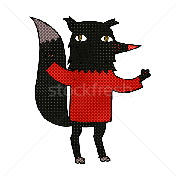 Komische cartoon wolf retro stijl Stockfoto © lineartestpilot