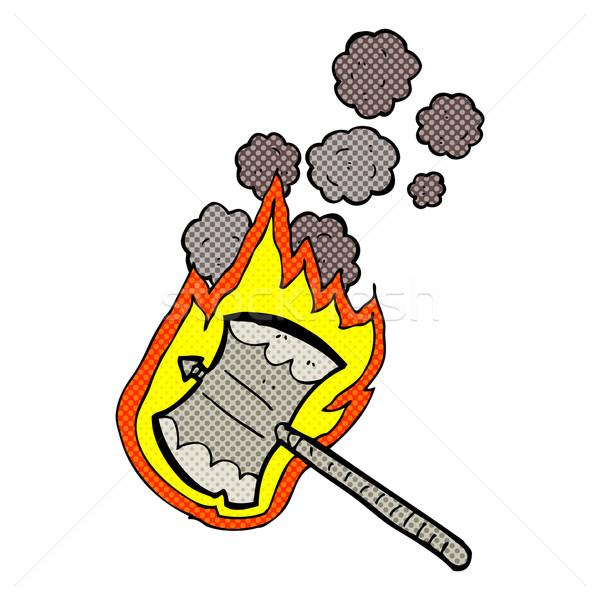 комического Cartoon пылающий топор ретро Сток-фото © lineartestpilot