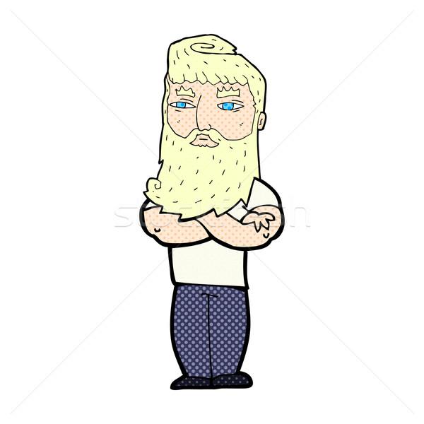 comic cartoon serious man with beard Stock photo © lineartestpilot