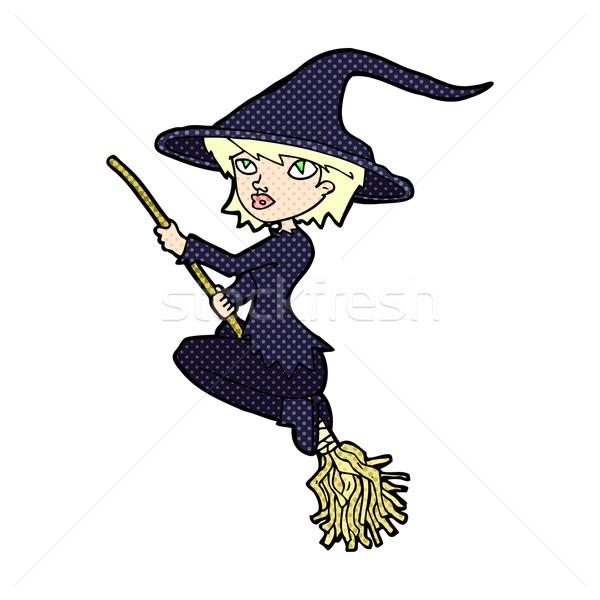Cômico desenho animado bruxa equitação cabo de vassoura retro Foto stock © lineartestpilot