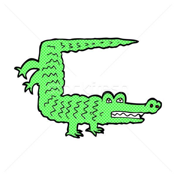 Comic desen animat crocodil retro stil Imagine de stoc © lineartestpilot