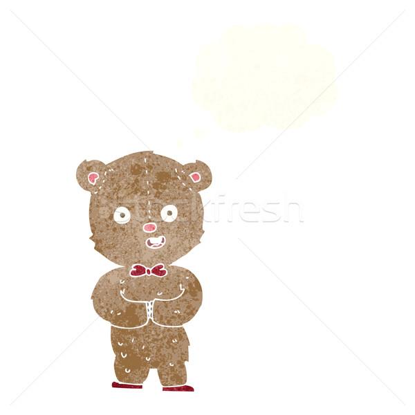 Cartoon orsacchiotto bolla di pensiero mano design animali Foto d'archivio © lineartestpilot